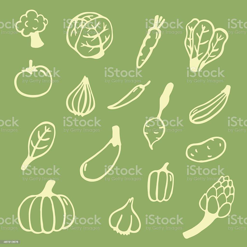 vegetables seamless pattern vector art illustration