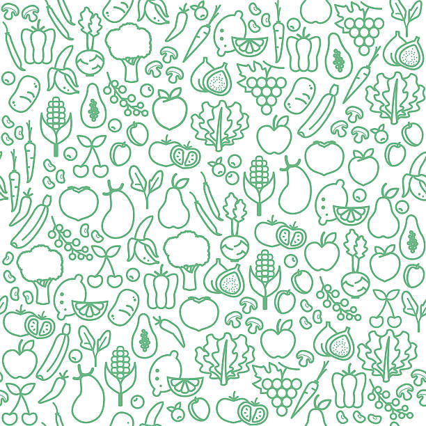 vegetables seamless pattern - healthy eating stock illustrations, clip art, cartoons, & icons