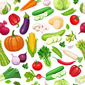 Vegetables seamless pattern. Healthy food vector background.