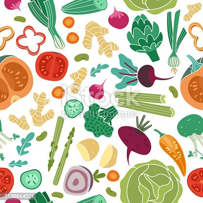 istock Vegetables seamless pattern. Vegan healthy meal organic food delicious fresh vegetable abstract vector texture 1136644071