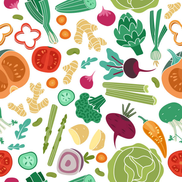 ilustrações de stock, clip art, desenhos animados e ícones de vegetables seamless pattern. vegan healthy meal organic food delicious fresh vegetable abstract vector texture - alimentação saudável