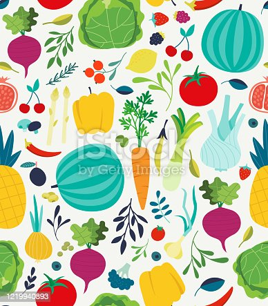 istock Vegetables seamless pattern. Vegan healthy meal organic food delicious fresh vegetable abstract vector texture 1219940893