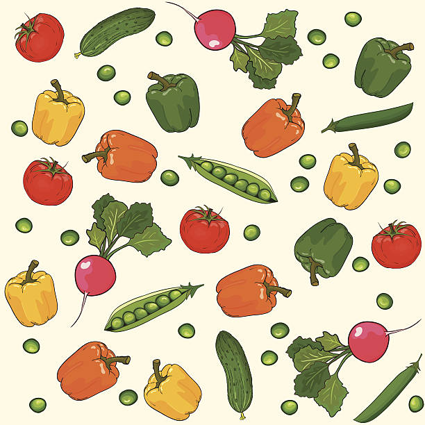 vegetables seamless vector pattern - like two peas in a pod stock illustrations, clip art, cartoons, & icons