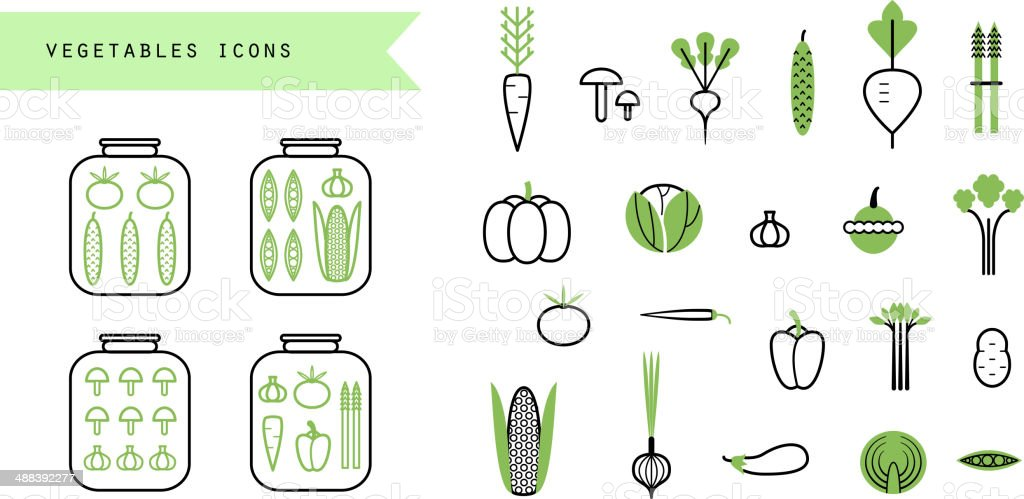 Vegetables set. Icons. Infographics elements.Preserved. Isolated vector art illustration