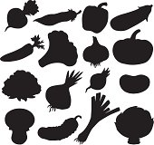 Vegetables set of black silhouette