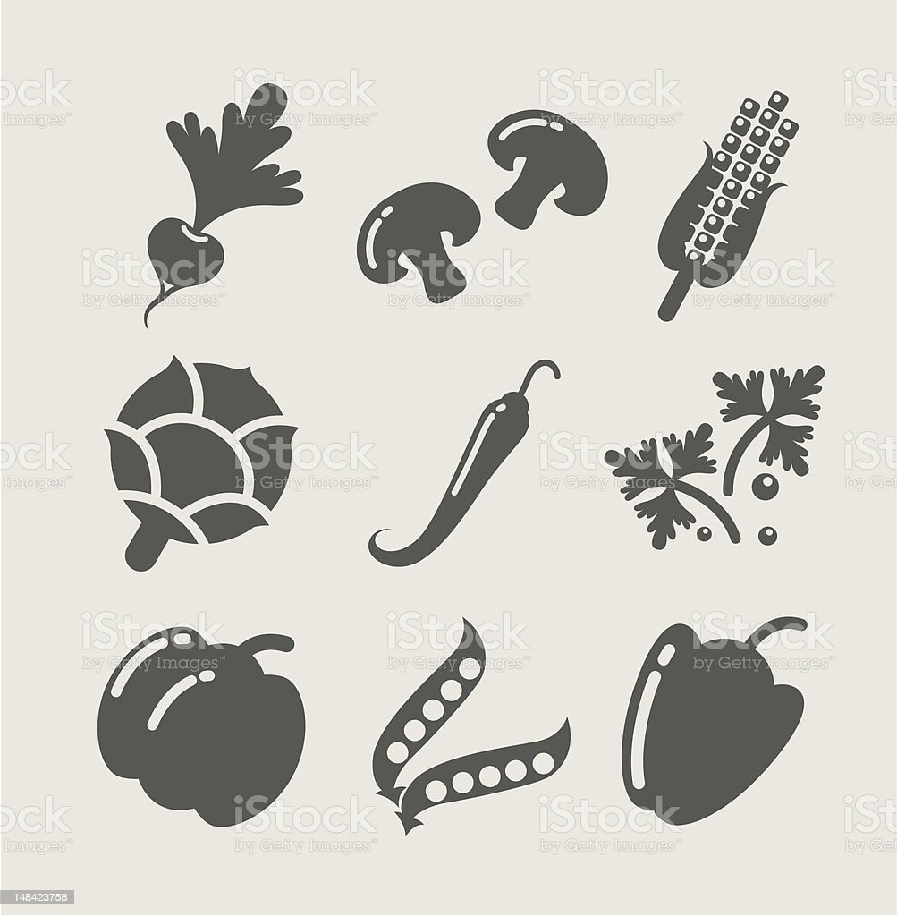 vegetables set of icons royalty-free stock vector art