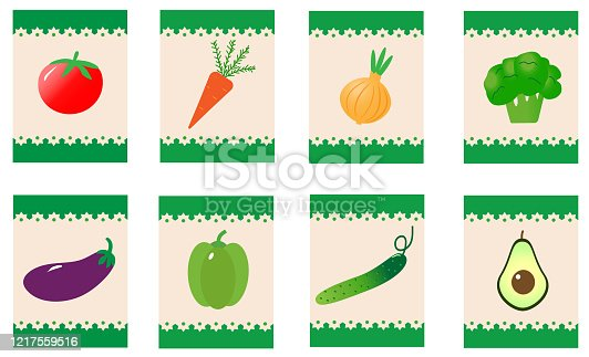 Vegetables. Set of stickers or cards.