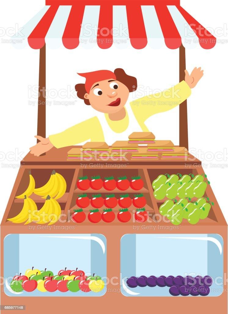 vegetables shop stall, farmers market, - ilustração de arte em vetor