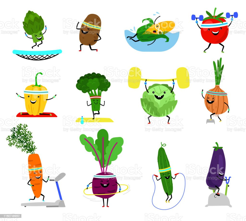 Vegetables sports characters. Funny wellness vegetable food set with...