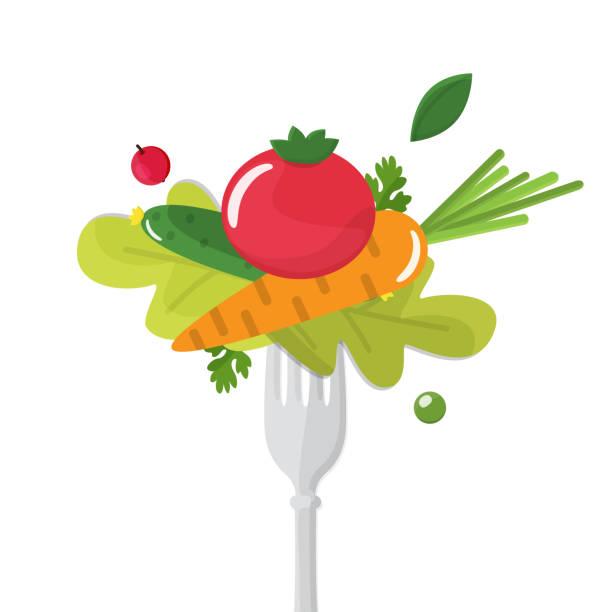 ilustraciones, imágenes clip art, dibujos animados e iconos de stock de verduras sticked en la horquilla. concepto de alimentación saludable - fibra dietética