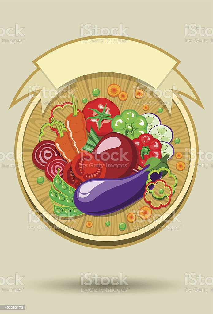 Vegetables sticker with ribbon royalty-free stock vector art