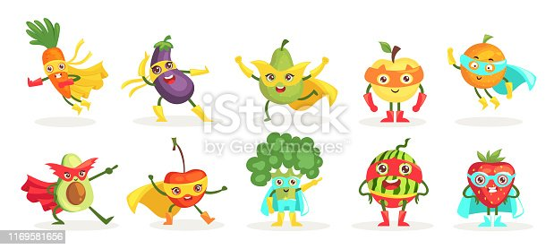 Vegetables superheroes flat vector characters set. Kawaii fruits, berries wearing costumes and masks. Cute carrot, pear, avocado in symbolic capes. Funny cherry, strawberry in superhero attire