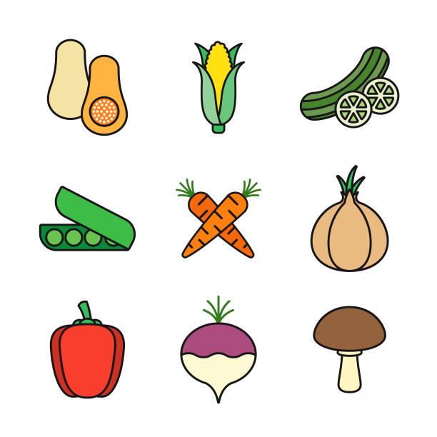 Vegetables Thin Line Icon Set vector art illustration