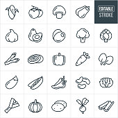 A set of vegetable icons that include editable strokes or outlines using the EPS vector file. The icons include corn on the cob, tomatoes, mushroom, squash, garlic, avocado, olives, broccoli, artichoke, asparagus, onion, bell pepper, carrot, spinach, eggplant, peas, jalapeno peppers, beans, lettuce, leek, pumpkin, potatoes, radish, beat and celery.