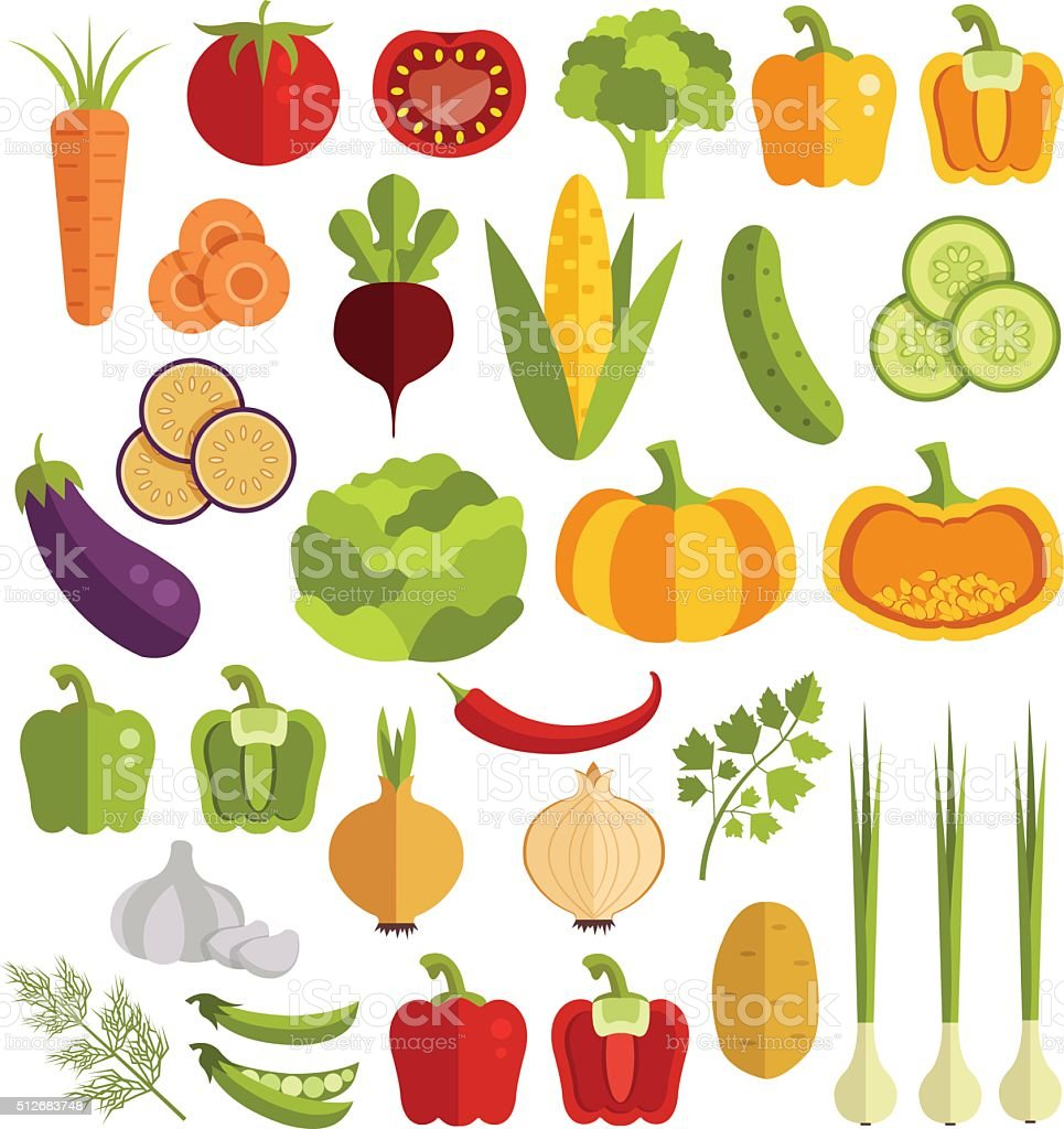 Vegetables vector flat icons set vector art illustration