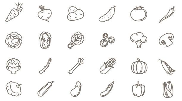stockillustraties, clipart, cartoons en iconen met groenten vector icon set - spruitjes