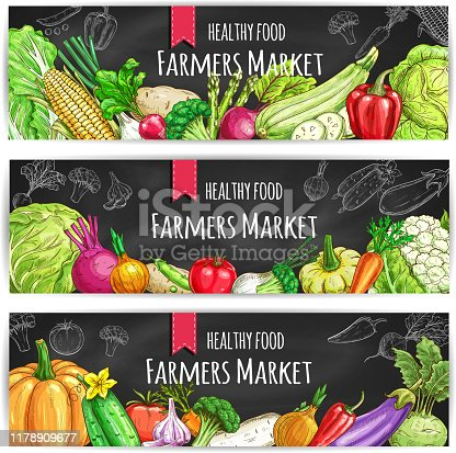 Veggies of farmer market. Vegetarian healthy food banners set. Chalk sketch vegetable pumpkin and cabbage, onion and broccoli, pepper and cucumber, tomato and celery, radish, carrot and beet, potato on blackboard