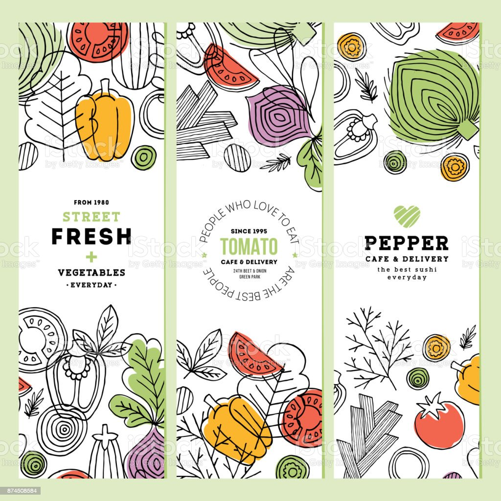 Vegetables vertical banner collection. Linear graphic. Vegetables backgrounds. Scandinavian style. Healthy food. Vector illustration vector art illustration