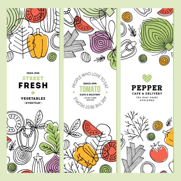 vegetables vertical banner collection. linear graphic. vegetables backgrounds. scandinavian style. healthy food. vector illustration - organic stock illustrations, clip art, cartoons, & icons