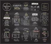 ベジタリアンやビーガン料理黒板デザイン セット