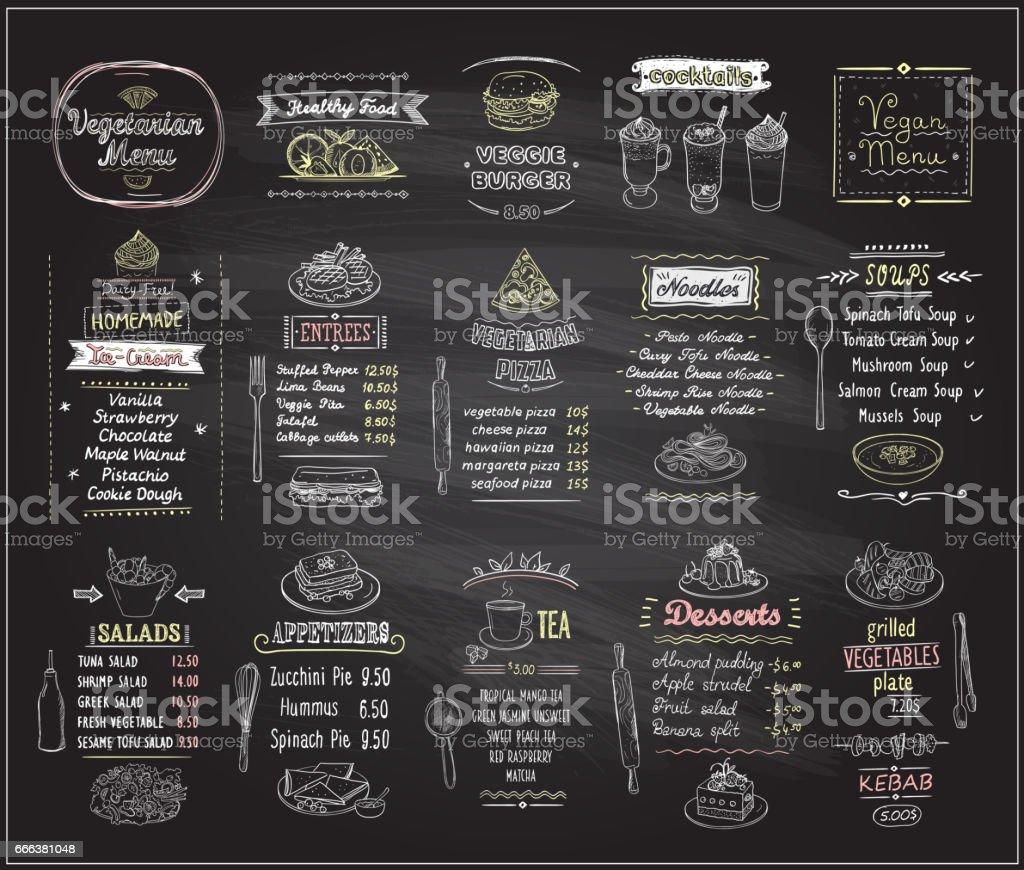 Comida vegetariana e vegan quadro conjunto de design - ilustração de arte em vetor