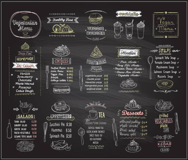 Vegetarian and vegan food chalkboard design set Vegetarian and vegan food chalkboard design set, hand drawn line graphic illustration with desserts and drinks, soups, salads, pizza and noodles, vector collection cutting board stock illustrations