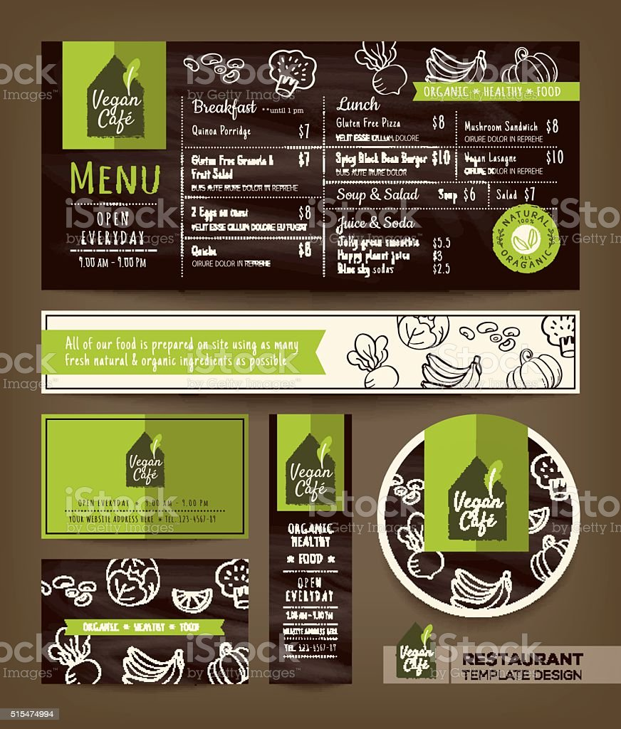 Vegetarian and vegan healthy restaurant cafe set menu graphic design vector art illustration