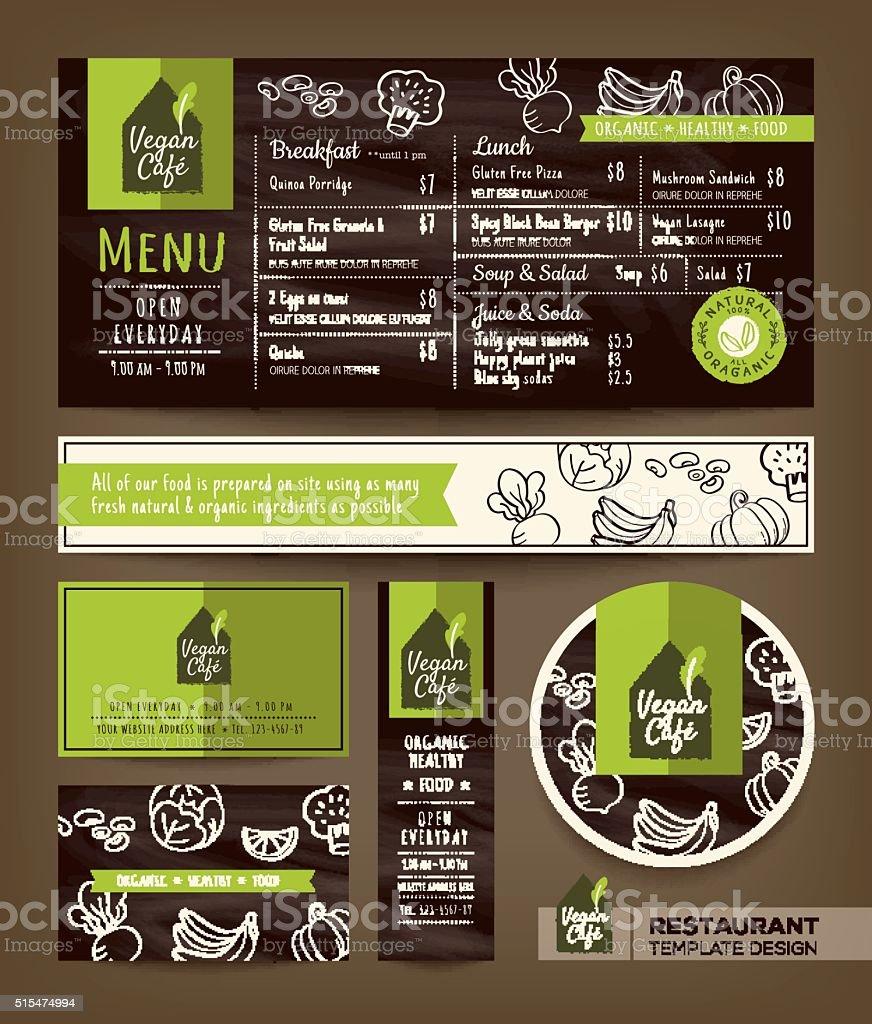 Vegetariana e vegana saudável restaurante cafe, menu de fixo de projeto gráfico - ilustração de arte em vetor