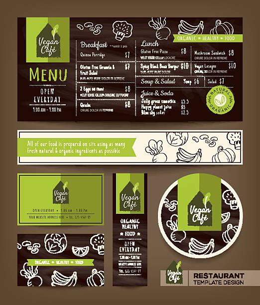 illustrations, cliparts, dessins animés et icônes de des plats végétariens et végétaliens équilibrés restaurant café menu conception graphique - plat végétarien