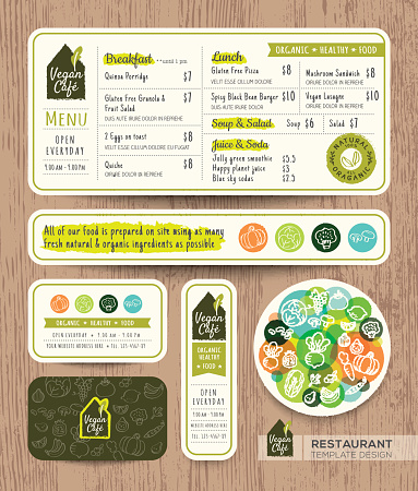 Vegetarian and vegan restaurant cafe set menu graphic design template