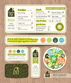 Vegetarian and vegan restaurant cafe set menu graphic design template