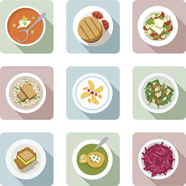 vegetarische gerichte.  flache icons in farbe - risotto stock-grafiken, -clipart, -cartoons und -symbole