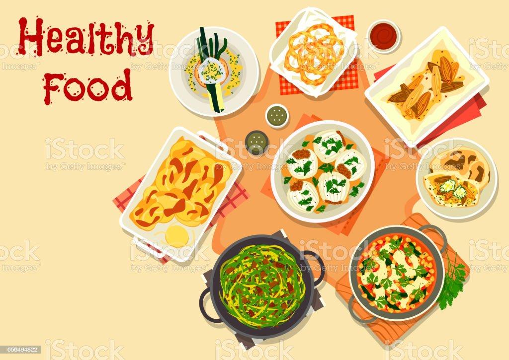 Vegetarian dinner icon for healty food design vector art illustration