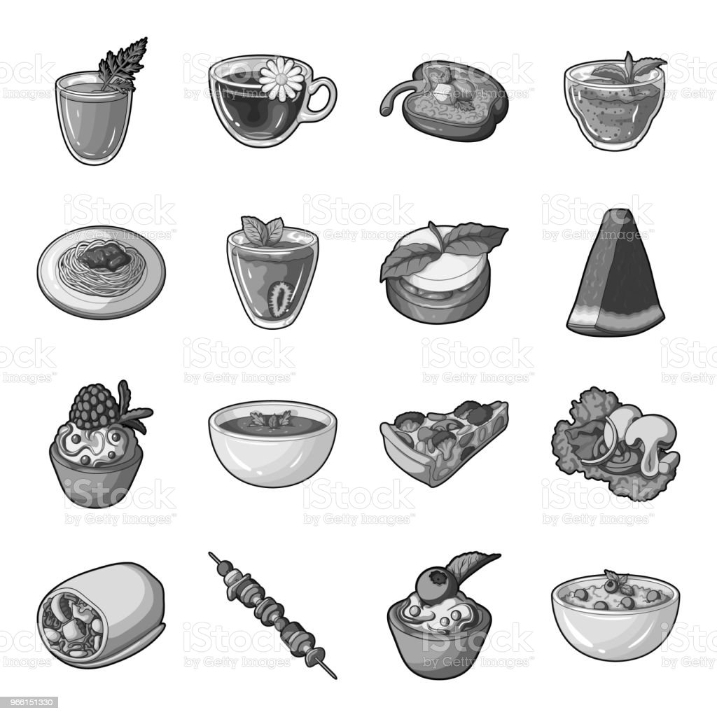 Vegetarian dish monochrome icons in set collection for design.Vegetable and milk food vector symbol stock web illustration. - Royalty-free Blueberry stock vector