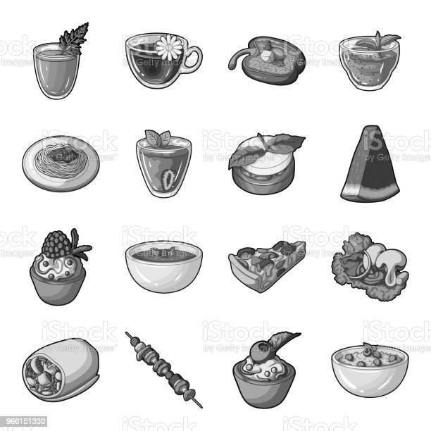 Vegetarisk Maträtt Svartvita Ikoner I Set Insamling För Design Grönsaker Och Mjölk Mat Vektor Symbol Lager Web Illustration-vektorgrafik och fler bilder på Aubergine