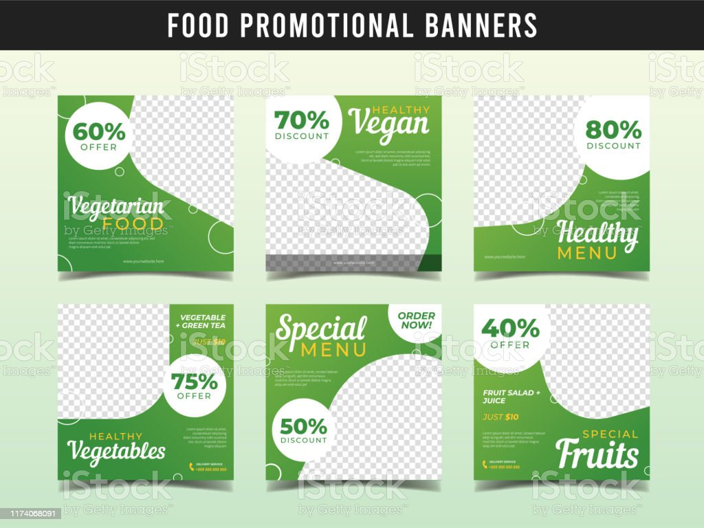 Vegetarian Food Banner For Social Media Post Template Vegan Restaurant And Cafe Stock Illustration Download Image Now Istock
