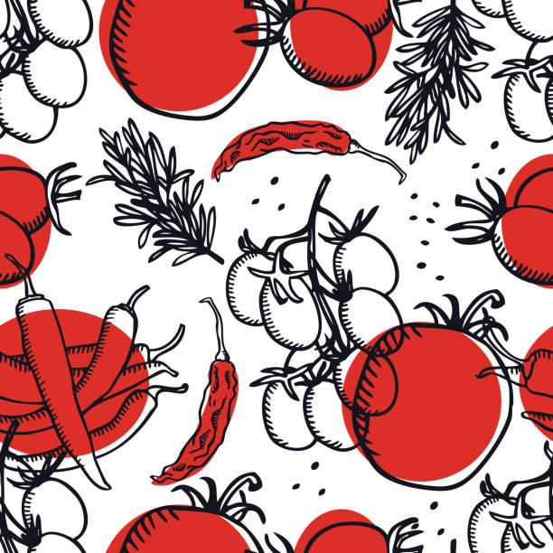 ilustrações de stock, clip art, desenhos animados e ícones de vegetarian food collection tomatoes and chili peppers seamless pattern - sauce tomatoes