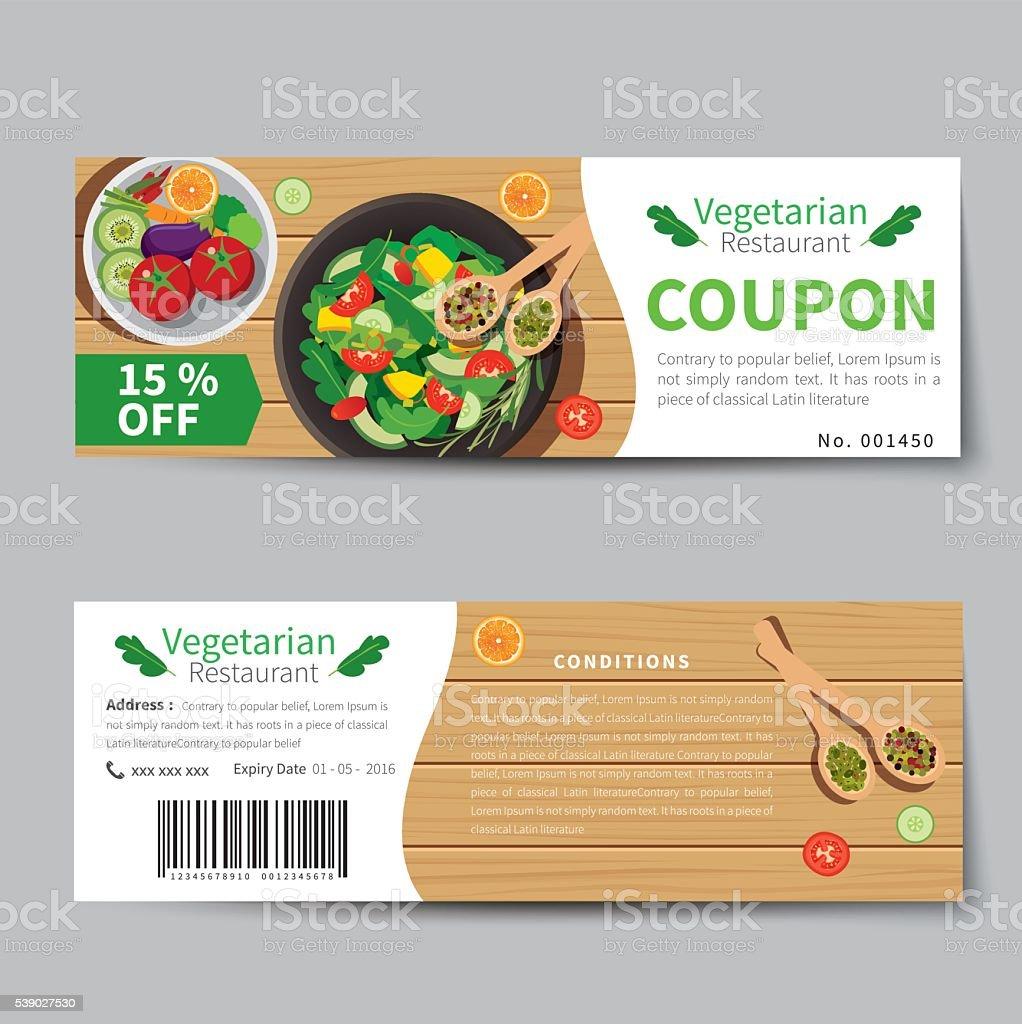 Vegetarian Food Coupon Discount Template Flat Design Stock Vector