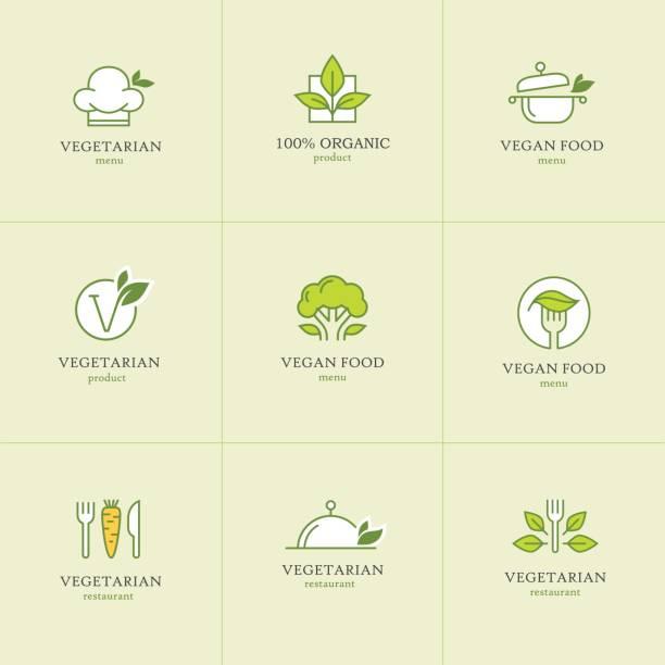 zestaw ikon wegetariańskich potraw1 - jedzenie wegetariańskie stock illustrations