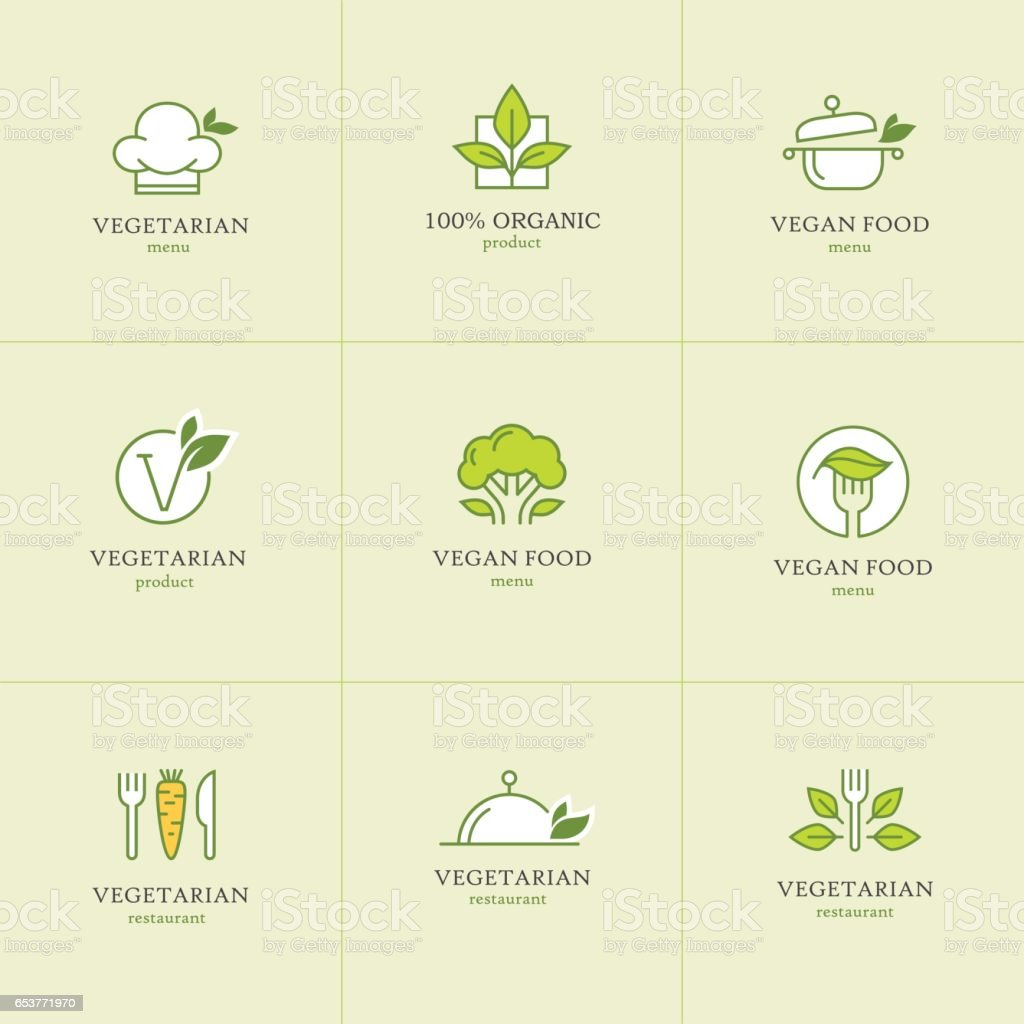 Vegetarian food icons set1 vector art illustration