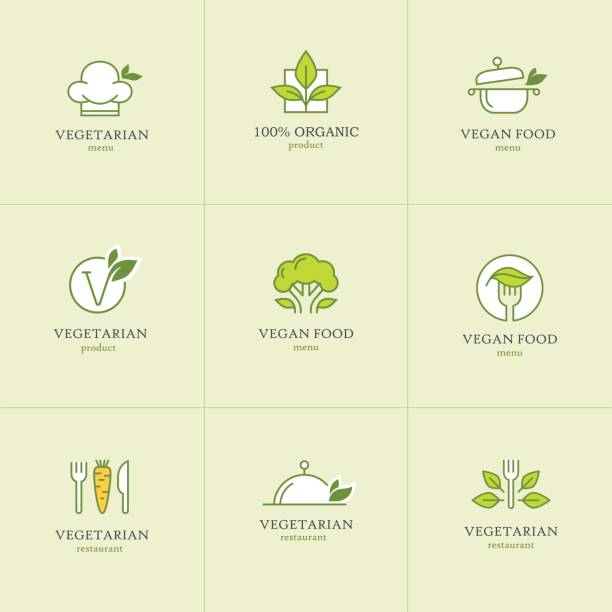vegetarian food icons set1 - vegetarian stock illustrations, clip art, cartoons, & icons