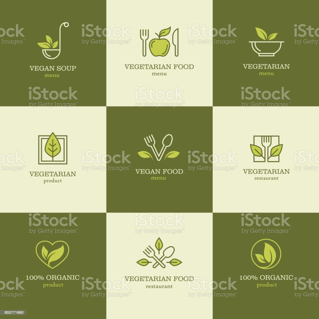 Vegetarian food icons set2 vector art illustration