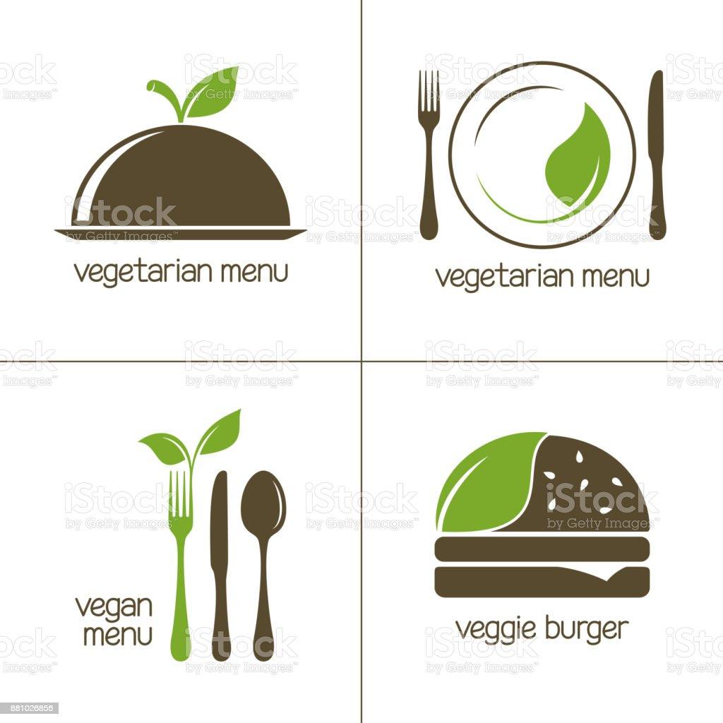 Ícones de comida vegetariana - ilustração de arte em vetor