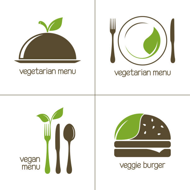 vegetarian food icons - vegetarian stock illustrations, clip art, cartoons, & icons