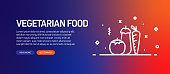 Vegetarian Food Related Flat Line Banner Design with Icons