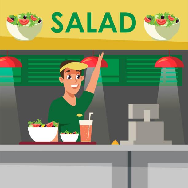 vegetarische lebensmittel verkauf flache vektor illustration - salatbar stock-grafiken, -clipart, -cartoons und -symbole