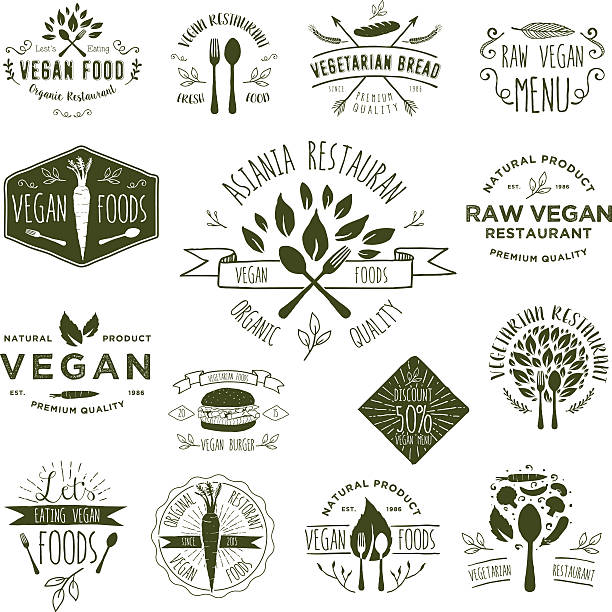 Vegetarian Foods Badges vector art illustration