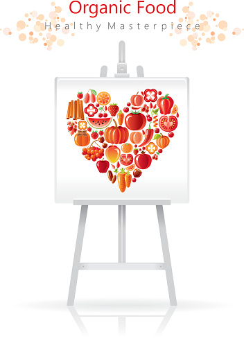 Vegetarian heart on canvas and easel: red and orange