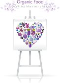 Vegetarian heart on canvas and easel: violet and blue