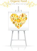 Vegetarian heart on canvas and easel: yellow